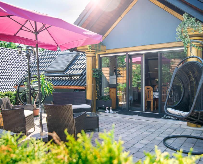 Terrasse Kaiser's Plateau Wohnung Ferienwohnungen Herrieden